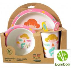 Set de vaisselle pour repas bébé en fibre de Bambou-detail