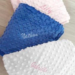Couverture bébé personnalisable bleu Marine-detail