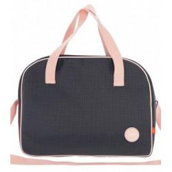 sac à langer bébé noir et rose cambrass-detail
