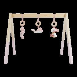 Arche d'éveil en bois rose bébé-detail