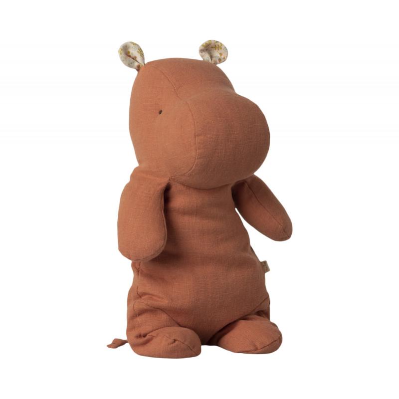 Doudou en lin hippopotame corail de la marque maileg