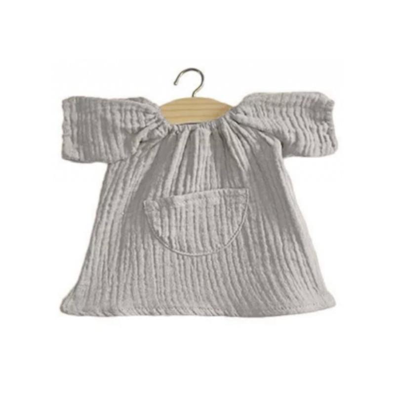 Robe en gaze de coton grise pour poupée Paola Reina