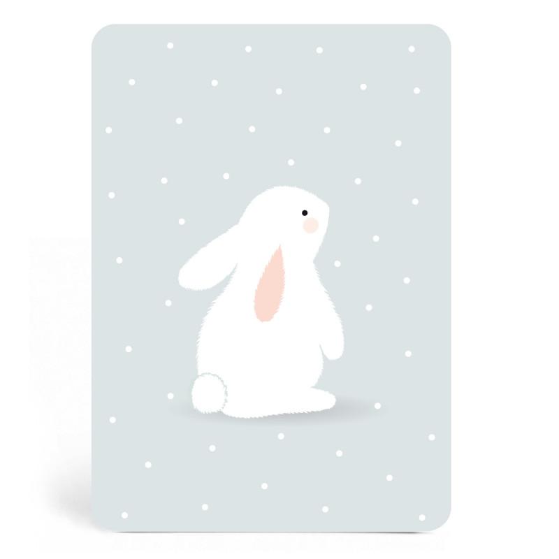 Carte bleue avec lapin blanc zu