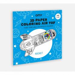 Fusée gonflable en papier à colorier OMY-detail