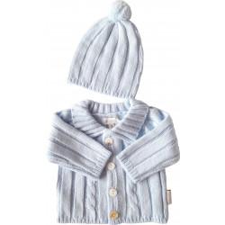 Gilet bleu laine et son bonnet pompom-detail